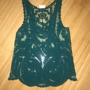 Pins & Needles green lace tank top size large